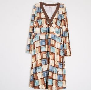 Tyler Boe Abstract Faux Wrap Tunic Stretch Dress
